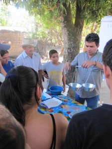 Agroecology as a Tool for Liberation: Transforming Industrial Agribusiness in El Salvador. Miguel Ramirez training family farmers on seed bank management. (Photo courtesy of MAOES)