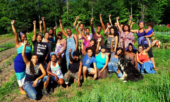 Participants in Soul Fire Farms' Black and Latinx Farmers Immersion program. Photo by Jonah Vitale-Wolff.